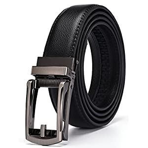 Xholding Men's Genuine Leather Ratchet Dress Belt with Automatic Buckle 1 1/8""
