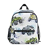 TIZORAX Cartoon Monster Trucks Lightweight Travel School Backpack for Boys Girls Kids