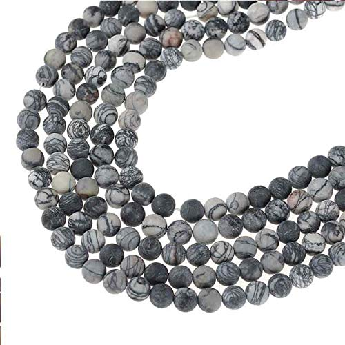 Calvas Grid Matte Natural Stone Onyx Beads 6mm 8mm 10mm 12mm Round Ball Loose Beads for Jewelry DIY Making - (Color: Other, Item Diameter: 8mm49pcs)