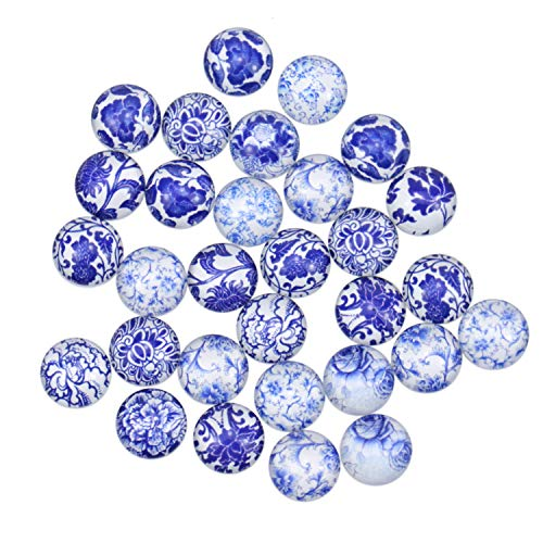 Pomeat 30 Pcs 12mm Porcelain Round Glass Cabochon Flatbacks for Jewelry Making, Necklace and Jewelry Making (Pendant Jewelry Cameo Porcelain)