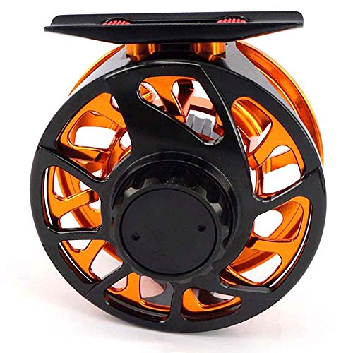 SPECIAL INTRODUCTORY SALE! Aventik Trout CNC-NVIS 3/4, 5/7, 7/9, 9/11, 12/14 New super large arbor waterproof fly reel (black+orange, 3/4)