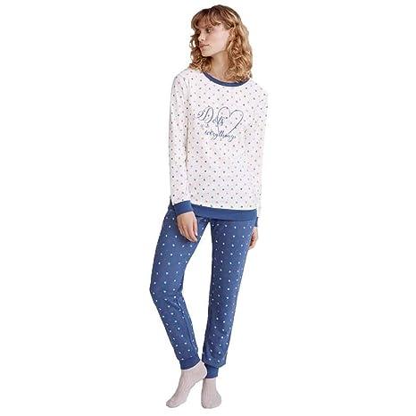 PROMISE Pijama de Mujer a Lunares N06572 - Azul, M: Amazon.es: Ropa y accesorios