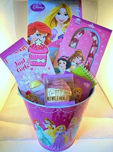 Disney Royal Princess Fun Bucket: Princess Bucket, Royal Fashions Activity Book, Stickerland 120 Stickers, Princess Band-Aids, Sparkle Crayons, Lip Balm, Strawberry Candy Cane, Cupcake Bath Fizz