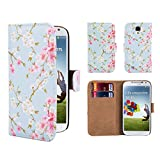 32nd Floral Design Leather Wallet Case for Samsung Galaxy S4, Designer Flower Pattern Wallet Style Cover With Card Slots - Spring Blue