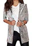 Papijam Womens Casual Hip Hop Sequins Cardigan Open Front Jacket Blazer Silvery X-Large