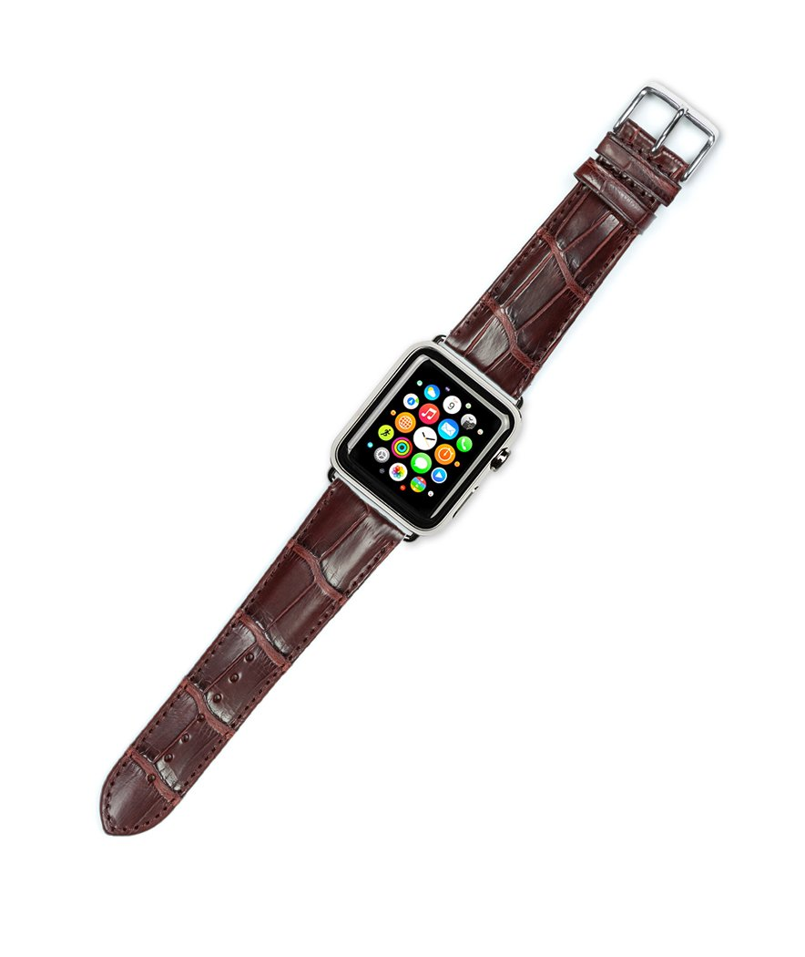 Debeer Replacement Watch Band - Genuine Alligator - Brown - Fits 42mm Apple Watch [Black Adapters]