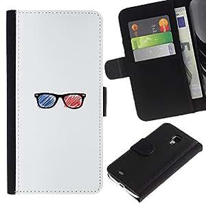 """A-type (Gafas 3D"""") Colorida Impresión Funda Cuero Monedero Caja Bolsa Cubierta Caja Piel Card Slots Para Samsung Galaxy S4 Mini i9190 (NOT S4)"""