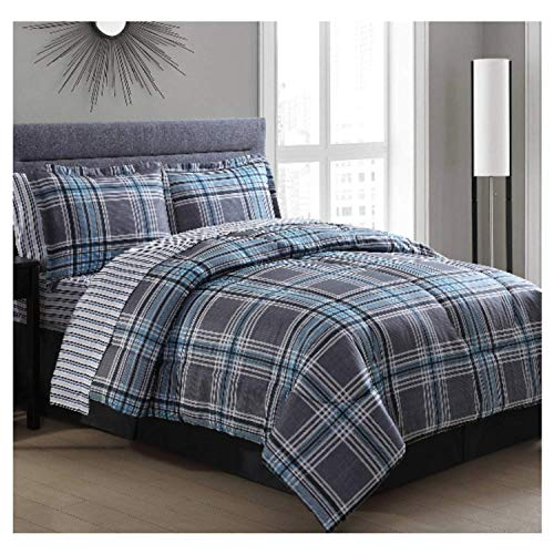 - Ellison Great Value Chelsea Plaid 8 Piece, King Bed in a Bag, Gray