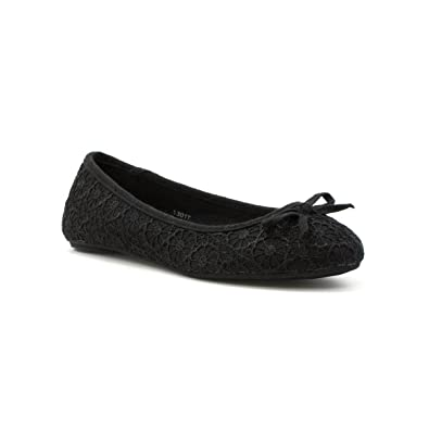 5c6cc985e5907 Lilley Womens Lace Ballerina in Black: Amazon.co.uk: Shoes & Bags