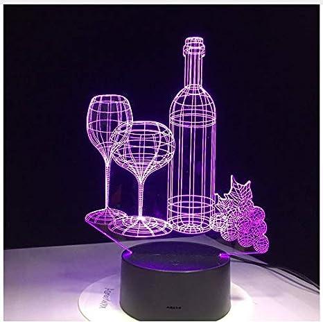 Botella De Vino De Cristal Usb Lámpara 3D 7 Colores Sensor ...