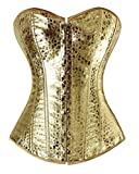 Women's Steampunk Shimmer PU Basques Lace up Boned Corset Overbust Busiter Top X-Large Gold