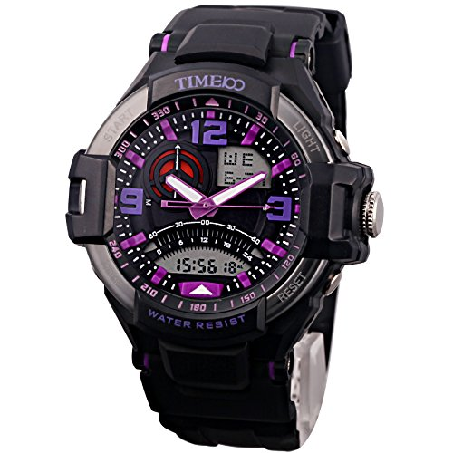 TIME100 LED Dual-time Display Multifunction Purple Numbers Sport Electronic Watch #W40103G.04A by Time100