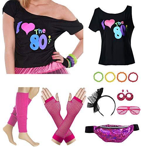 Women Plus Size I Love The 80's T-Shirt with Fanny Pack Bag Fancy Costume Outfit Accessory (XXL/3XL, Hot Pink)