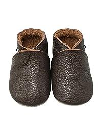 Mejale Baby Shoes Soft Soled Leather Moccasins Anti-Skid Infant Toddler Prewalker Dark Brown