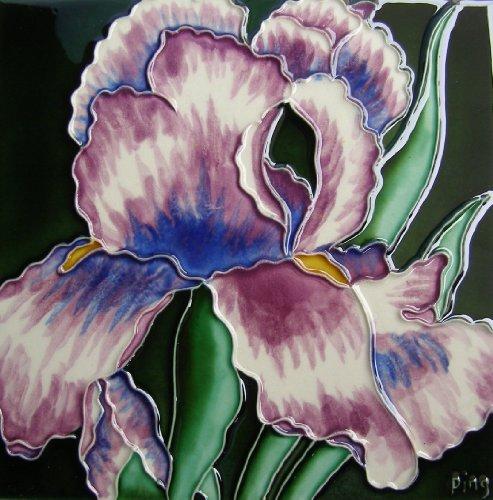 Continental Art Center BD-0283 8 by 8-Inch Single Light Purple Iris Ceramic Art Tile
