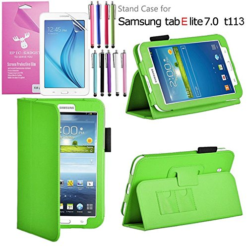 Galaxy Tab E Lite 7.0 Case, EpicGadget(TM) Galaxy E Lite Premium PU Leather Folding Folio Cover Case with Built in Stand For Tab E Lite 7 inch T113 + Screen Protector + 1 Stylus (Green Leather Cover)