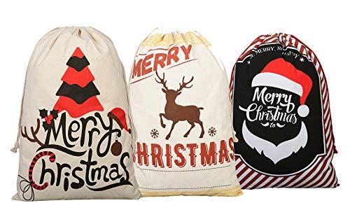 KEFAN 3 Pack Christmas Bag Santa Sack Canvas Bag for Gifts Santa Sack with Drawstrings Extra Large Size 27.5