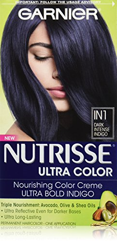 Garnier Nutrisse Ultra Color Nourishing Hair Color Creme, IN1 Dark Intense Indigo (Packaging May Vary) (Best Blue Hair Dye For Black Hair)