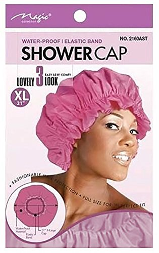 UPC 636227121411, Magic X-Large Elastic Band Shower Cap - Light Pink, Elastic band, keeps hair in place, large , extra large, comfortable material, waterproof, full size, perfect fit