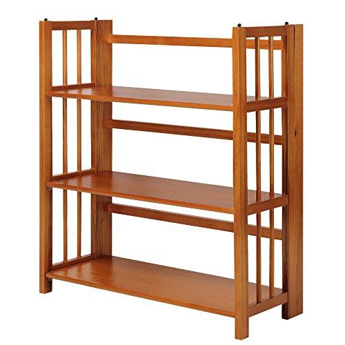 Casual Home 3-Shelf Folding Stackable Bookcase, 35-Inch Wide, Honey Oak