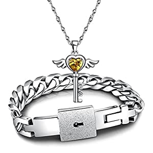 Amazon couples bracelets lover concentric lock key pendant couples bracelets lover concentric lock key pendant titanium steel jewelry set 23cm gold aloadofball Gallery