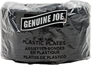 "Genuine Joe GJO10429 Plastic Round Plate, 9"" Diameter, Black (Pack of"