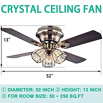 Andersonlight Flush Mount Indoor Ceiling Fan with Three Crystal Lights, Bronze 52inch with Light