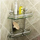 New Luxury Bathroom 2-Tier Glass Shelf Glass Shower Shelving Corner Aluminium