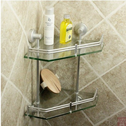 New Luxury Bathroom 2-Tier Glass Shelf Glass Shower Shelving Corner Aluminium by Bathroom Shelves (Image #5)