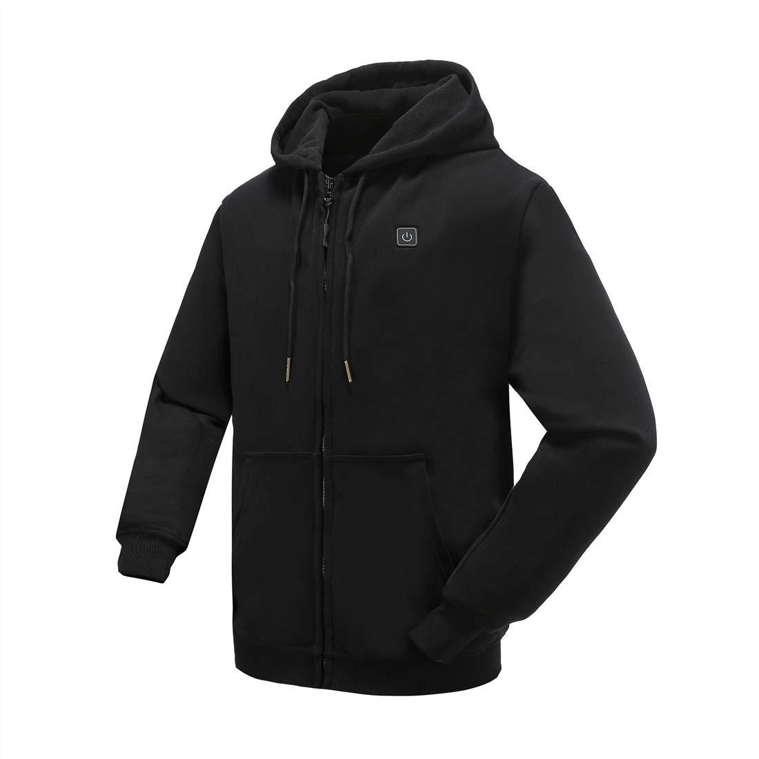 N NIFVAN Heated Hoodie with Battery Pack for Men Women Full-Zip Fleece 7.4V Hooded Sweatshirt (Large, Black) by N NIFVAN