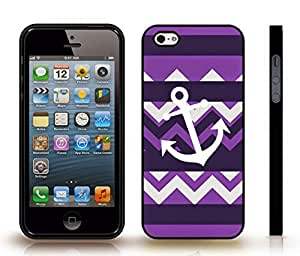 Case For Sam Sung Galaxy S5 Mini Cover with Chevron Pattern Indigo Purple Stripe White Anchor , Snap-on Cover, Hard Carrying Case (Black)