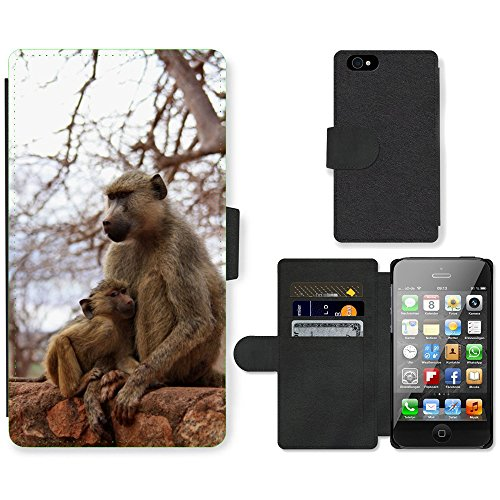 Just Phone Cases PU Leather Flip Custodia Protettiva Case Cover per // M00128926 Baby Monkey Wild Animal Famille // Apple iPhone 4 4S 4G
