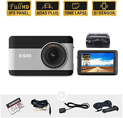 FineVu X500 Dash Cam, Front and Rear Full HD 1080P, 3.5 Touch Screen IPS, Hardwiring Cable, Samsung 64GB MicroSD Included, Night Vision ADAS Plus Time Lapse G-Sensor