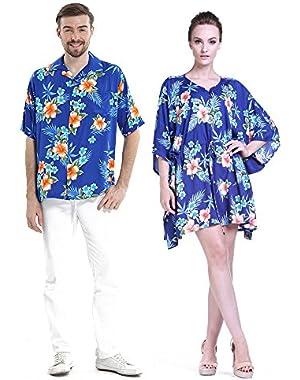 Couple Matching Hawaiian Luau Aloha Shirt Poncho Dress in Hibiscus 2 Colors