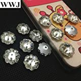 Ochoos Sew On 3700 Marguerite Lochrose 6mm,8mm,10mm,12mm,14mm,16mm Flower Beads with One Center Hole Crystal Clear Color - (Item Diameter: 8mm 228pcs)