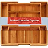 KICHLY Bamboo Expandable Cutlery Tray - Silverware & Utensils Organizer - 8 Compartment