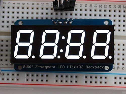 Adafruit 0.56'' 4-Digit 7-Segment Display w/I2C Backpack - White [ADA1002] by Adafruit