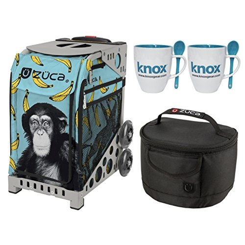 Zuca Monkey Sport Insert Bag with Zuca Frame, Matching Lunch box and 2 Coffee Mugs(Gray Frame) (Ape Skate)