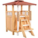 Cat House Shelter Cat Tree Pet Roof Condo Balcony Puppy Stairs Indoor Outdoor Wood