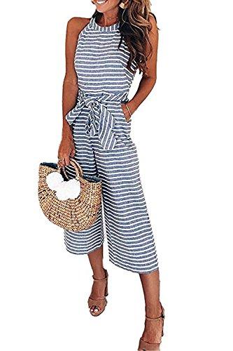 FairyMei Women Striped Waist Belted Wide Leg Loose Jumpsuit (Blue, Medium)