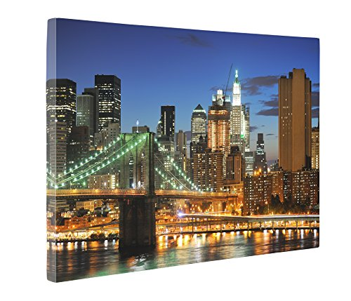 Niwo Art (TM) - New York Cityscape Picture On Canvas - Giclee Wall Art for Home Decor, Gallery Wrapped, Stretched and Framed Ready to Hang (24