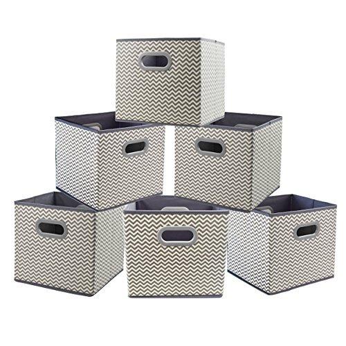 Tela Cajas de almacenamiento, homyfort cesta de la compra plegable contenedor de cubos Organizador cajones con doble mango de...