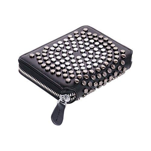 Studded Coin (RFID Blocking Safe Wallet for Men Women Punk Style Spike Handbag Rivet Studded Long Wallet)