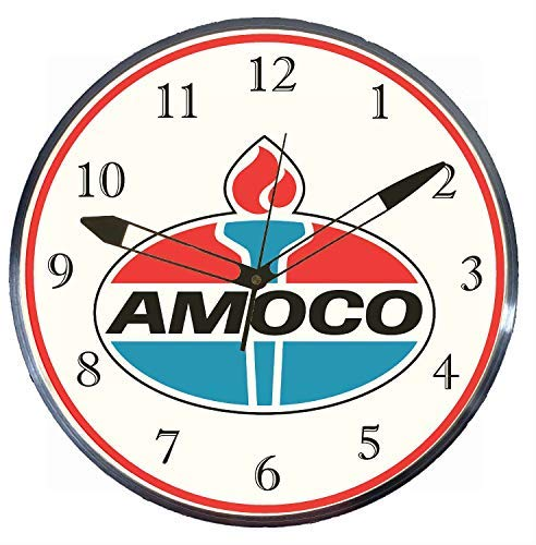 "Checkingtime LLC - 15"" Amoco Early LED Lighted Pam Advertising Clock, Metal Shell, Real Glass"