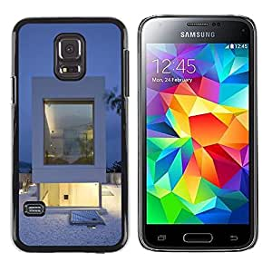 TopCaseStore / la caja del caucho duro de la cubierta de protección de la piel - Architecture White Minimalist - Samsung Galaxy S5 Mini, SM-G800, NOT S5 REGULAR!