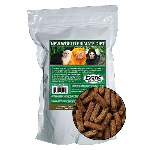 Exotic Nutrition New World Primate Diet - for Marmosets, Capuchins, Other Monkeys (4 lb)