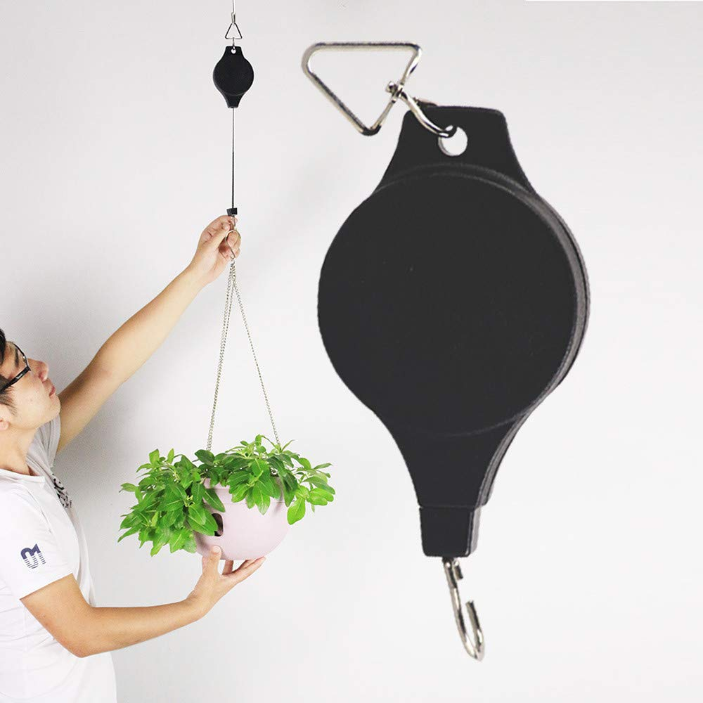 certainPL Pulley Retractable Hanger Hanging Planters Flower Basket Hook Hanging Garden Baskets Pots and Birds Feeder in Different Height Lower and Raise, Black (1 Pack)
