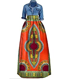 81bdf769 Women's Casual African Printed Long Maxi Skirt Plus Size A Line Cocktail  Skirt Ball Gown