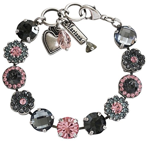 Mariana Silvertone Large Flower Shapes Crystal Bracelet, 7 Madagascar Pink Gray Grey 4084 1083