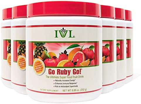 IVL Go Ruby Go Superfood Fruit Powder Supplement, 30 Serving Container (Pack of 6)